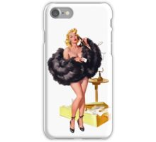 high class pin up girl with black fur coat iPhone Case/Skin