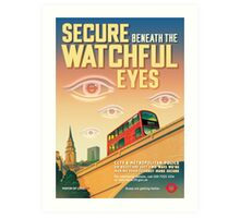 London CCTV Poster - Secure Beneath The Watchful Eyes Art Print