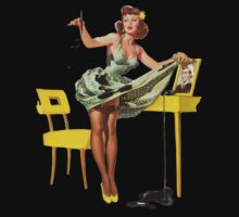 cute pin up girl with green dress yellow high heels One Piece - Short Sleeve