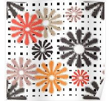 Abstraction. Colorful daisies on gingham background. Poster