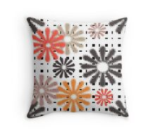 Abstraction. Colorful daisies on gingham background. Throw Pillow