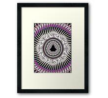 Crochet Fractal Art black pink white Framed Print
