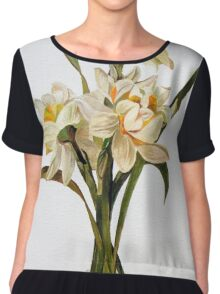 Double Narcissi In A Bouquet Chiffon Top