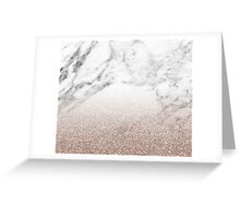 Rose gold glitter on marble Greeting Card
