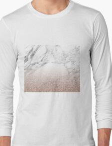 Rose gold glitter on marble Long Sleeve T-Shirt