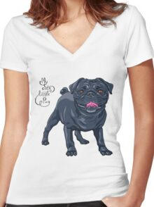 dog black pug breed Women's Fitted V-Neck T-Shirt