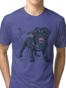 dog black pug breed Tri-blend T-Shirt