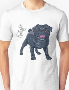 dog black pug breed Unisex T-Shirt