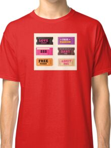 Love night tickets. Join crazy night party with collection of stylish retro tickets Classic T-Shirt