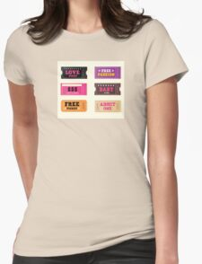 Love night tickets. Join crazy night party with collection of stylish retro tickets Womens Fitted T-Shirt
