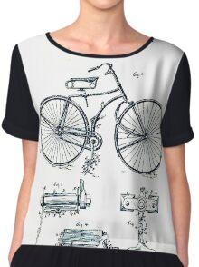 BICYCLE PATENT; Vintage Bike Patent Print Chiffon Top