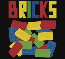 Colored Bricks [Large] by Customize My Minifig Kids Tee