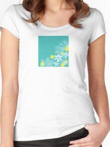 Blue retro flower texture. Retro flower design Women's Fitted Scoop T-Shirt