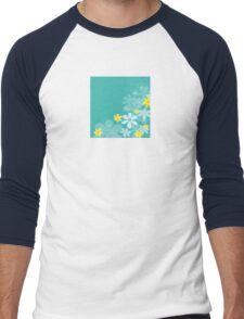 Blue retro flower texture. Retro flower design Men's Baseball ¾ T-Shirt