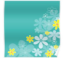 Blue retro flower texture. Retro flower design Poster