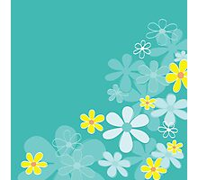 Blue retro flower texture. Retro flower design Photographic Print