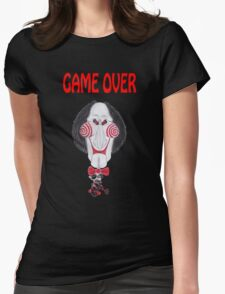Horror Movie Game Over Caricature Womens Fitted T-Shirt