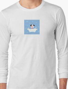Cute dog bath. Bathing cute small doggie Long Sleeve T-Shirt
