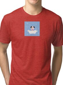 Cute dog bath. Bathing cute small doggie Tri-blend T-Shirt