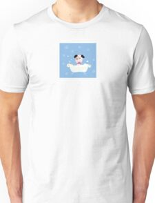 Cute dog bath. Bathing cute small doggie Unisex T-Shirt