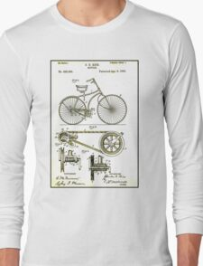 BICYCLE PATENT; Vintage Cycle Patent Print Long Sleeve T-Shirt