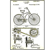 BICYCLE PATENT; Vintage Cycle Patent Print Photographic Print