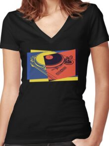 Vintage Turntable Pop Art Women's Fitted V-Neck T-Shirt