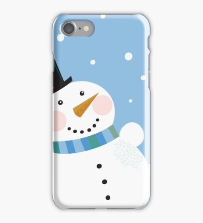 Christmas winter snowman background. Cute snowman in christmas snowy nature iPhone Case/Skin