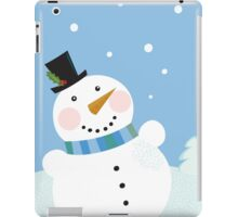 Christmas winter snowman background. Cute snowman in christmas snowy nature iPad Case/Skin