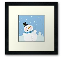 Christmas winter snowman background. Cute snowman in christmas snowy nature Framed Print