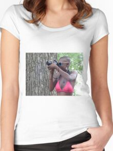 Pink Bikini Photo Girl at Comfest Women's Fitted Scoop T-Shirt