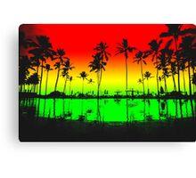 Rasta Colors Beach Silhouette Canvas Print