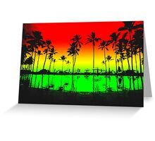 Rasta Colors Beach Silhouette Greeting Card