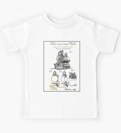 TRAIN LOCOMOTIVE; Vintage Patent Print Kids Tee