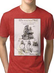 TRAIN LOCOMOTIVE; Vintage Patent Print Tri-blend T-Shirt