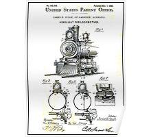 TRAIN LOCOMOTIVE; Vintage Patent Print Poster