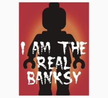 "Black Minifig with ""I am the Real Banksy"" slogan, Customize My Minifig One Piece - Short Sleeve"