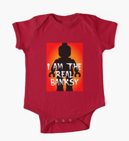 """Black Minifig with """"I am the Real Banksy"""" slogan, Customize My Minifig One Piece - Short Sleeve"""