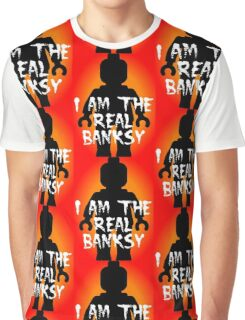 "Black Minifig with ""I am the Real Banksy"" slogan, Customize My Minifig Graphic T-Shirt"