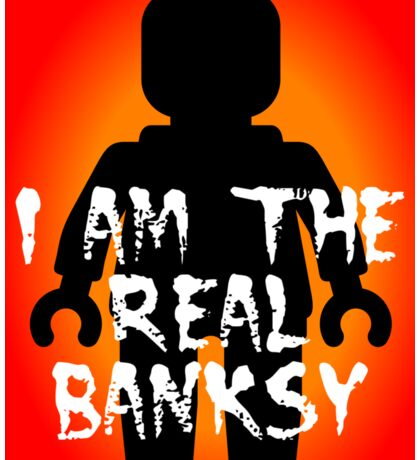 "Black Minifig with ""I am the Real Banksy"" slogan, Customize My Minifig Sticker"