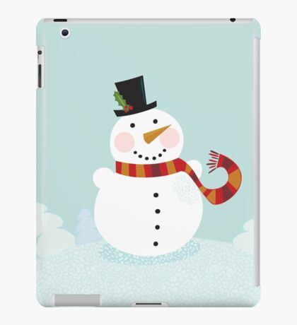 Christmas winter snowman. Cute snowman in christmas snowy nature. iPad Case/Skin