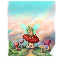 Green Fairy on Toadstool at Sunset Poster