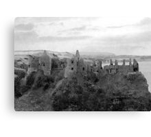Black and White Irish Castle Ruins ~ Halloween Landscape Canvas Print