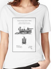 TRAINS LOCOMOTIVES; Vintage Patent Print Women's Relaxed Fit T-Shirt