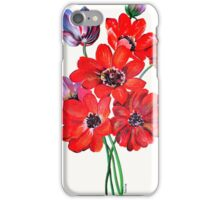A Posy Of Wild Red And Lilac Anemone Coronaria iPhone Case/Skin
