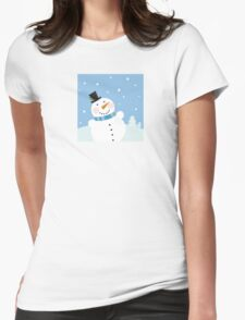 Christmas winter snowman background. Cute snowman in christmas snowy nature Womens Fitted T-Shirt