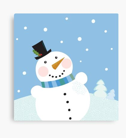 Christmas winter snowman background. Cute snowman in christmas snowy nature Canvas Print