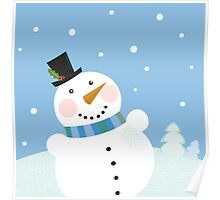 Christmas winter snowman background. Cute snowman in christmas snowy nature Poster