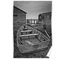 Old Wooden Boat BW Poster