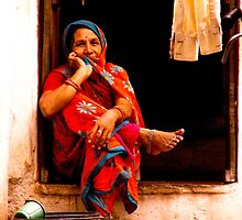 Contemplative woman, Udaipur, Rajasthan, India by indiafrank